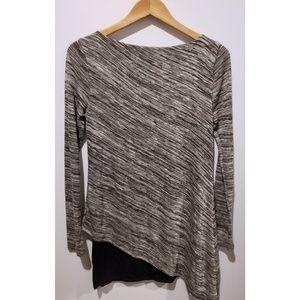 WHBM Marled Gray and Black Asymmetric Tunic Top